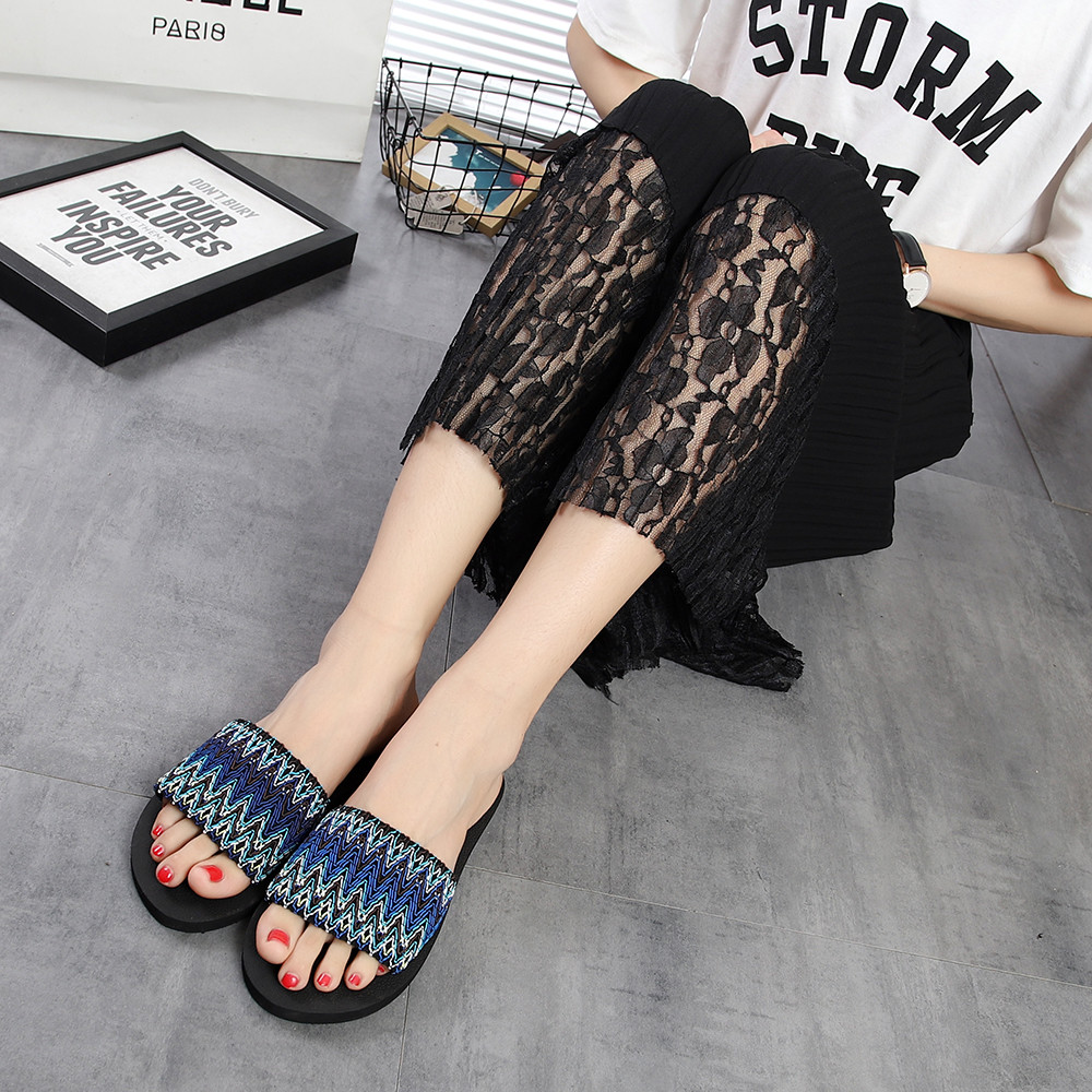 Women Slippers Fashion Spring Summer Women National Style Sandals Slipper Indoor Outdoor Flip-flops Beach Shoes Flat Shoes slipper female summer new fashion beach women sandals crystal women slippers five pointed star flat flip flops women shoes