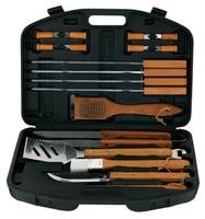 18PCS Essential BBQ Tools Grill Set Professional Aluminum Cooking Barbecue Tool Box Storage Case