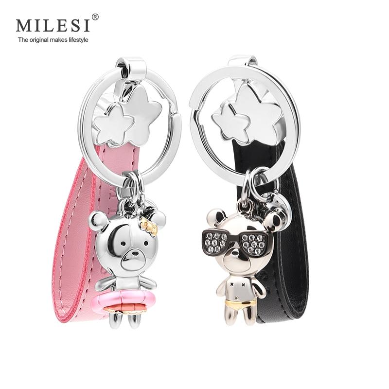 Milesi women keychain Pendant men bear Shape keyring Couple key holder metal Charm keyring Car Trinket gift for lovers K0202