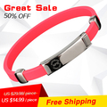 NOPROBLEM 054 free shipping strength Magnetic wristband tourmaline antifatigue infrared ion Silicone Bands choker anime bracelet