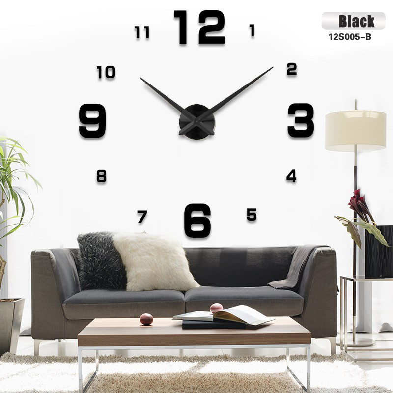 Transport gratuit de moda 3D mare dimensiune ceas de perete ceas de oglindă autocolant DIY ceasuri de perete decoratiuni interioare ceas de perete mare întâlnire cameră
