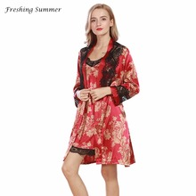 FRESHING SUMMER RAYON SILK PRINT LACE FULL ROBE SET  SOFT MINI SEXY SLEEP SKIRT