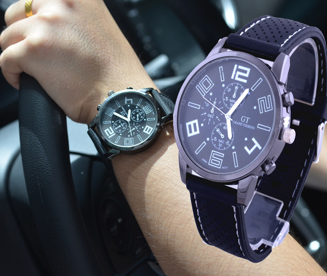 b8f40557e36c 2014 New Sports Watches Fashion Hour Marks Round Dial Black Case Racing  F1GT GRAND TOURING Watch For Men Relogio Masculino