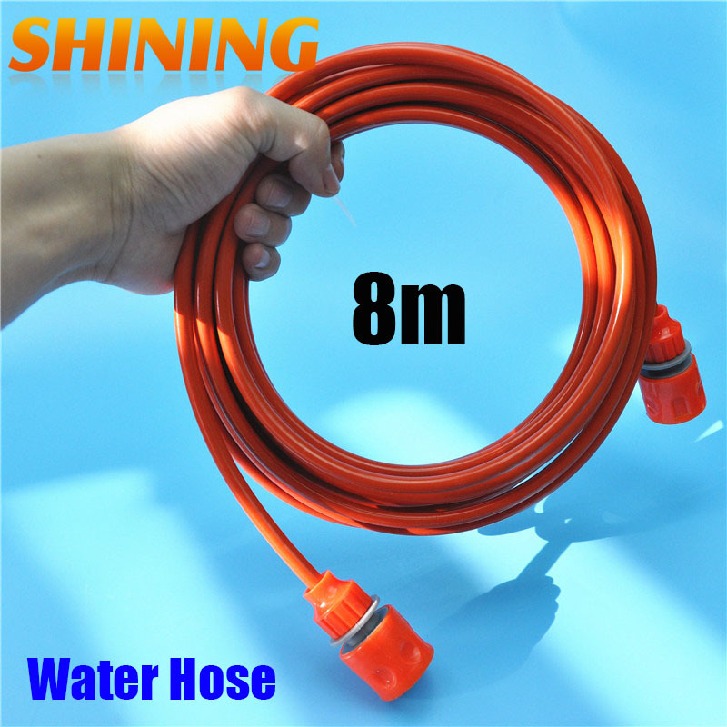 High Pressure Car Washer Hose Pipe 5mm X 8mm 2019 Official Self-Conscious 25ft/8m Orange Color Pu Car Washing Garden Water Hose Pipe With Quick Connector Car Washer