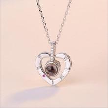 TJP Vintage Women 925 Sterling Silver Clavicle Necklace Jewelry Trendy Zircon Letter Heart Pendant Girls Birthday Gift