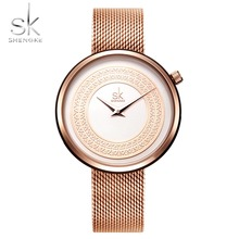 Shengke Top Brand Luxury Women Watches Rose Gold Fashion SK Watch Women Clock Women's Watches Reloj Mujer Montre Femme SK guou ladies watch luxury rose gold watch women watches full steel women s watches calendar clock saat montre femme reloj mujer