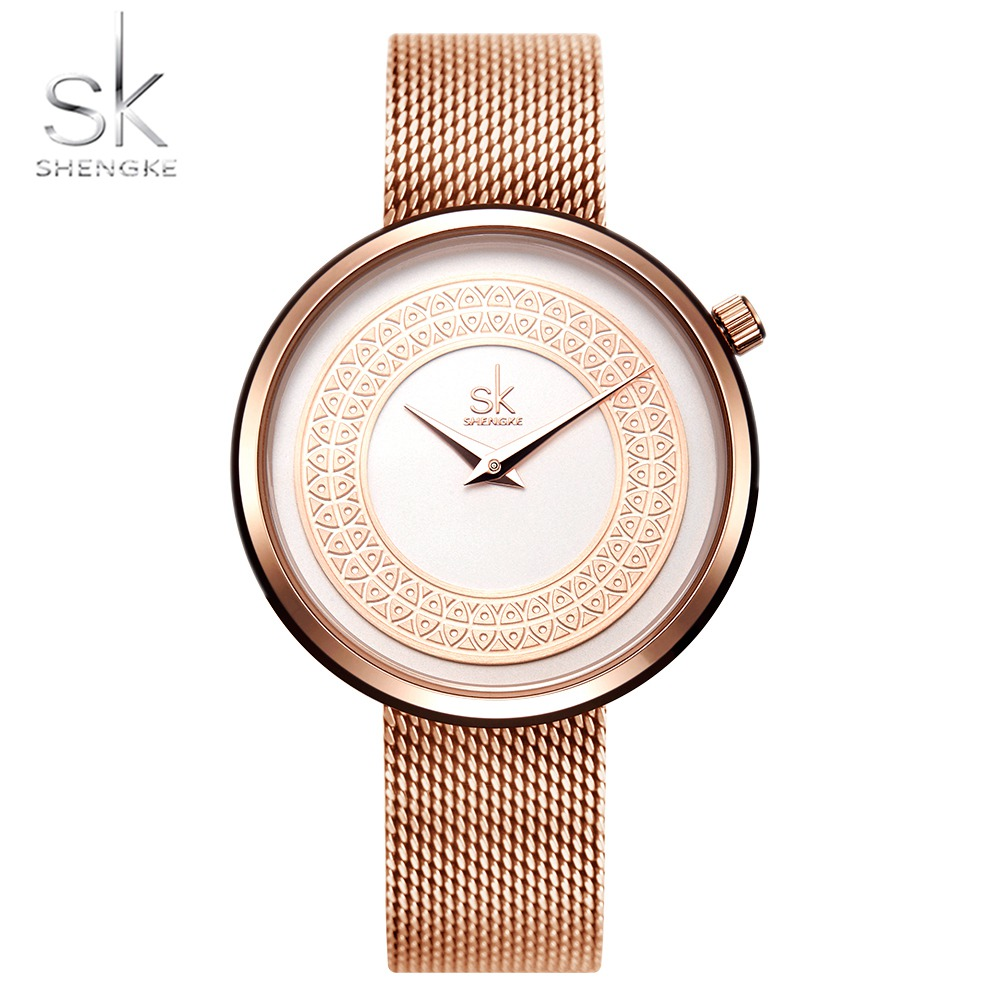 Shengke Top Brand Luxury Women Watches Rose Gold Ladies Watch Fashion SK Watch Women Stainless Steel Women's Watches Clock