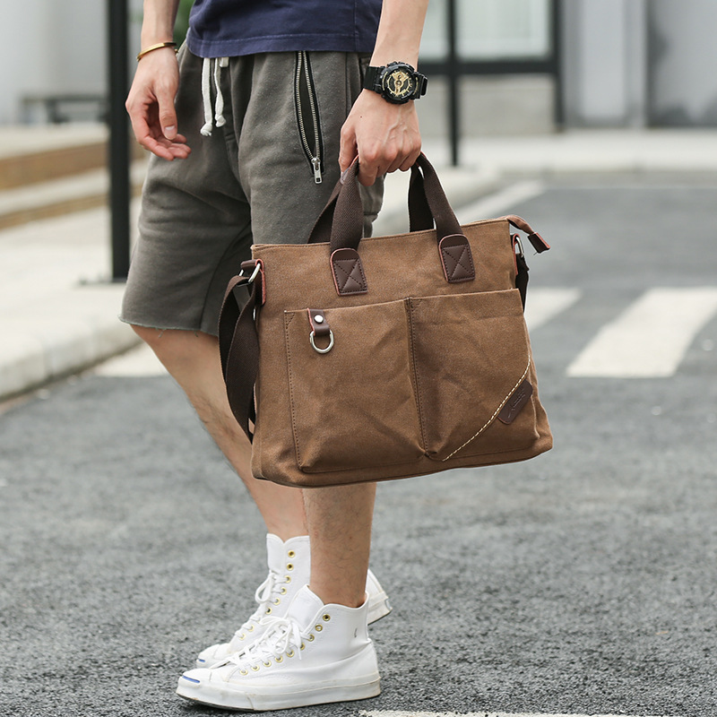 Polyester Canvas Message Shoulder Bags Strong Men Fashion Cloth Vintage Style Bag 2019 Multiple Pockets