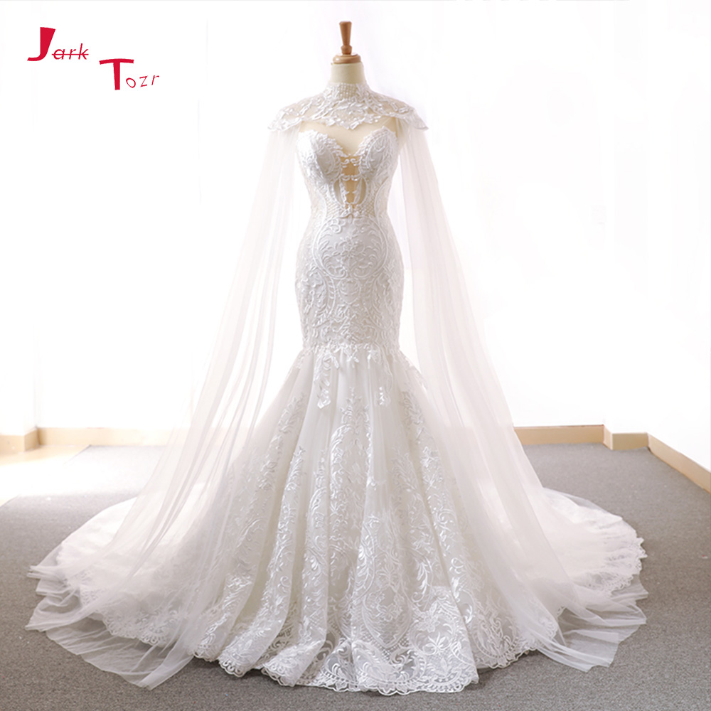 Jark Tozr 2019 New Arrive Lace Mermaid Wedding Dresses With Tulle Shawl Slim Elegant China Bridal