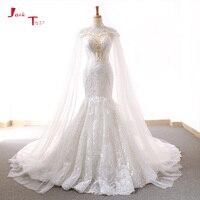 Jark Tozr 2018 New Arrive Lace Mermaid Wedding Dresses With Tulle Shawl Slim Elegant China Bridal Gowns Vestido Noiva Sereia