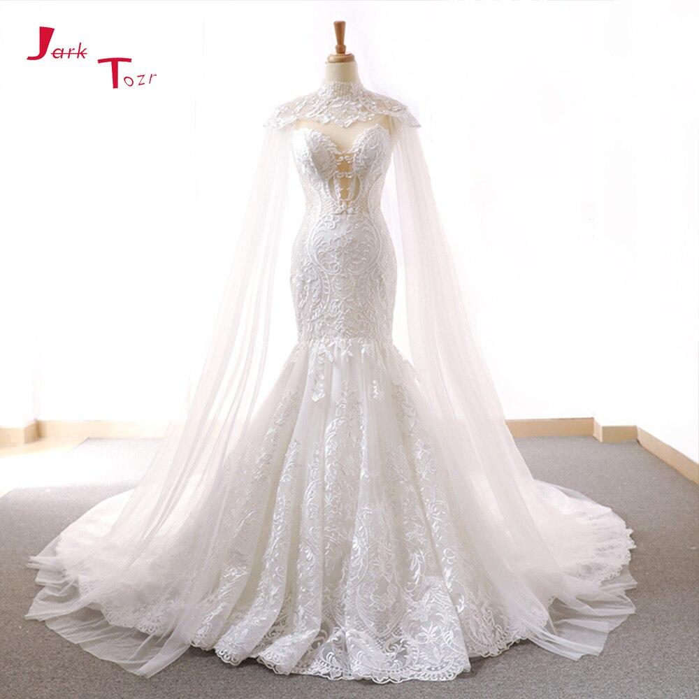 Jark Tozr 2018 Nouveau Arrivent Dentelle Sirène Robes De Mariée Avec Tulle Châle Mince Élégant Chine Robes De Mariée Robe Noiva Sereia