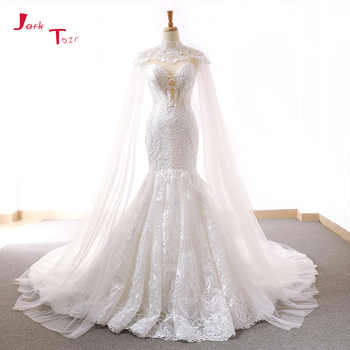 Jark Tozr 2019 New Arrive Lace Mermaid Wedding Dresses With Tulle Shawl Slim Elegant China Bridal Gowns Vestido Noiva Sereia - DISCOUNT ITEM  23% OFF All Category