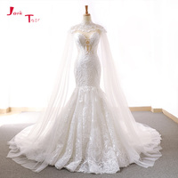 Jark Tozr 2019 New Arrive Lace Mermaid Wedding Dresses With Tulle Shawl Slim Elegant China Bridal Gowns Vestido Noiva Sereia
