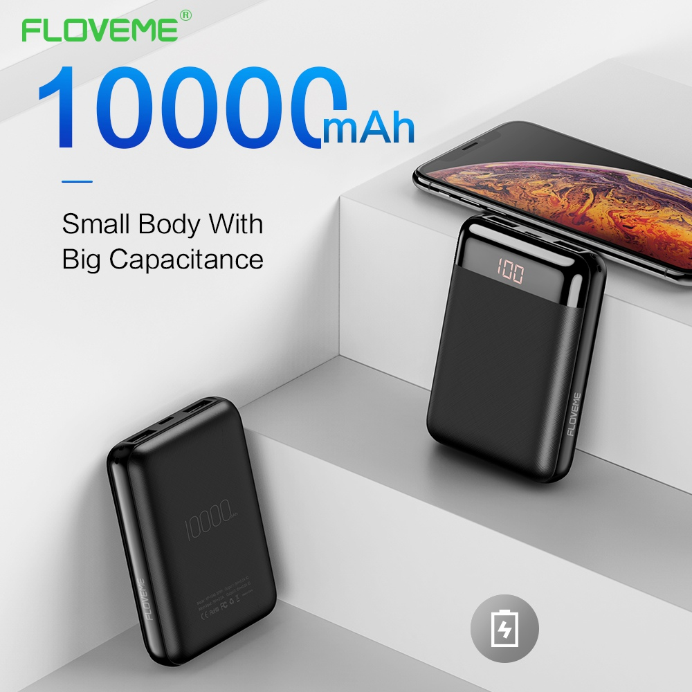 FLOVEME Mini <font><b>Power</b></font> <font><b>Bank</b></font> <font><b>10000</b></font> mAh For iPhone Xiaomi Mobile Phone Charger 2 USB External Battery Pack Portable Charger Powerbank image