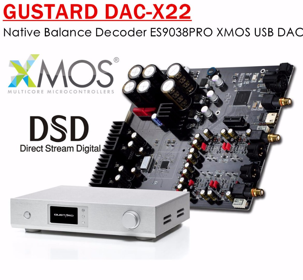 GUSTARD DAC-X22 Native Balance Audio Decoder ES9038PRO XMOS USB DAC DSD DOP PCMGUSTARD DAC-X22 Native Balance Audio Decoder ES9038PRO XMOS USB DAC DSD DOP PCM