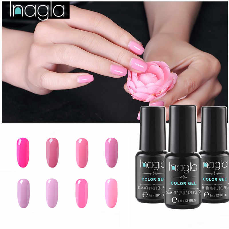 Inagla Pink Color Nail Polish Pure Gel Long Lasting Soak Off Enamel Gel Nail Polish Varnish LED UV Gel Varnish