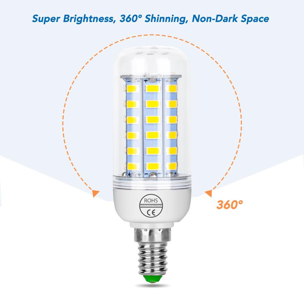 Купить с кэшбэком E14 Corn Bulb E27 Led Lamp B22 Ampoule Led 5W 7W 9W 12W 15W 20W Led Candle Light GU10 Bombillas 5730 Chandelier Indoor Lighting