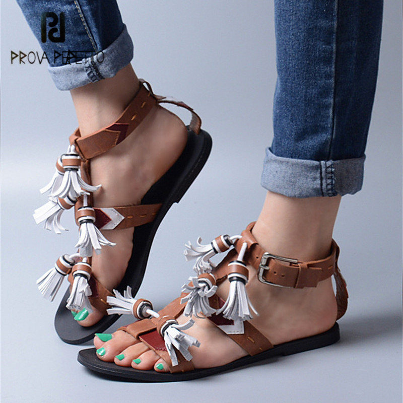 Prova Perfetto 2018 New Design Women Flat Sandals Peep Toe Fringed Summer Beach Shoes Woman Sandalias Mujer Flats marlong women sandals summer new candy color women shoes peep toe stappy beach valentine rainbow jelly shoes woman