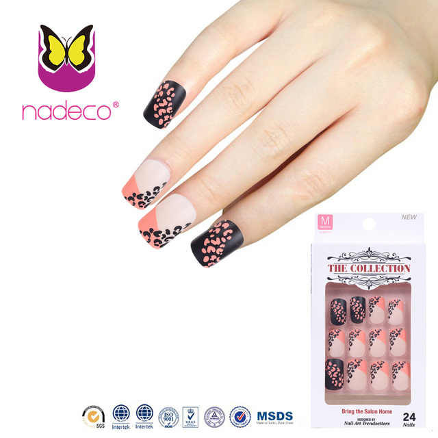 Aliexpress Buy Fashionable Matte Color Nail Tips With Leopard