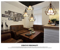 Modern Birdcage Pendant Light Diamond Iron Minimalist Retro Light Scandinavian Loft Pyramid Lamp Metal Cage Cafe