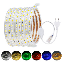 цена на 220V LED Strip SMD 5050 60leds/m IP65 Waterproof Flexible LED Strip Light 1M 2M 3M 5M 10M 15M 20M 25M 50M With EU Power Plug