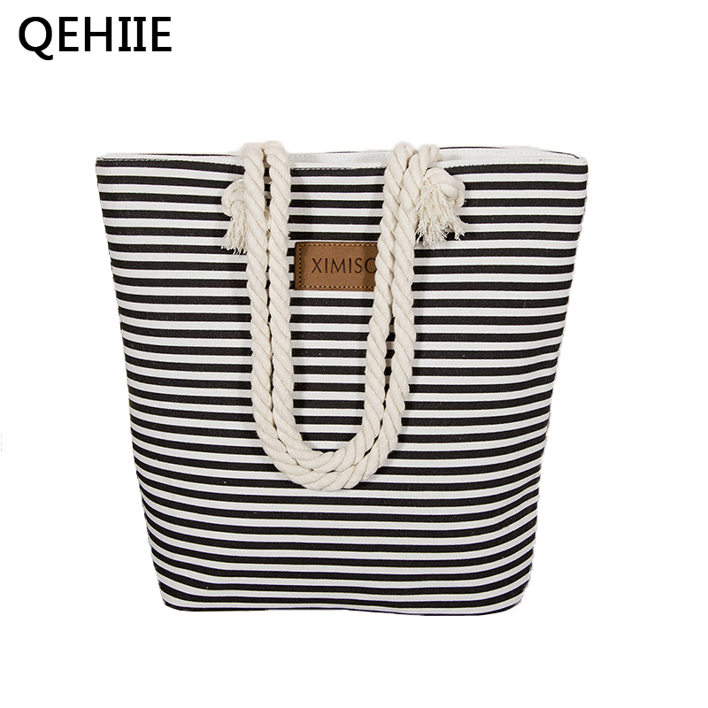 Women Stripes Canvas Shoulder Bag  Large Capacity Female Zipper Beach Bag Ladies Polyester Totes Girl's Casual Shopping Handbag high quality travel canvas women handbag casual large capacity hobos bag hot sell female totes bolsas ruched solid shoulder bag