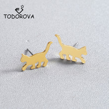 Todorova Fashion Womens Jewelry Cute Tiny Animal Pet Cat Stud Earrings Gift for School Girls Daughters