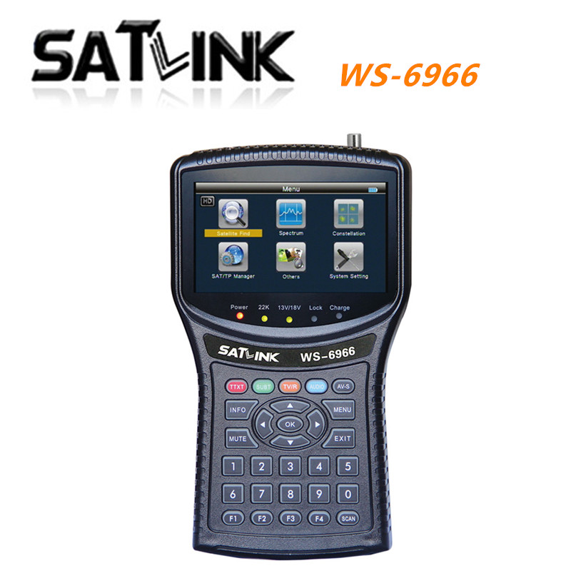 Original  Satlink WS-6966 Satellite Finder Meter MPEG4 DVB-S2 Meter Satlink 6966 HD HDMI Satellite Singnal Finder freeshipping
