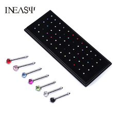 60Pcs/Set Nose Piercing Fake Nose Ring Stainless Steel Indian Style Crystal Rhinestone Bone Stud Surgical  Body Jewelry