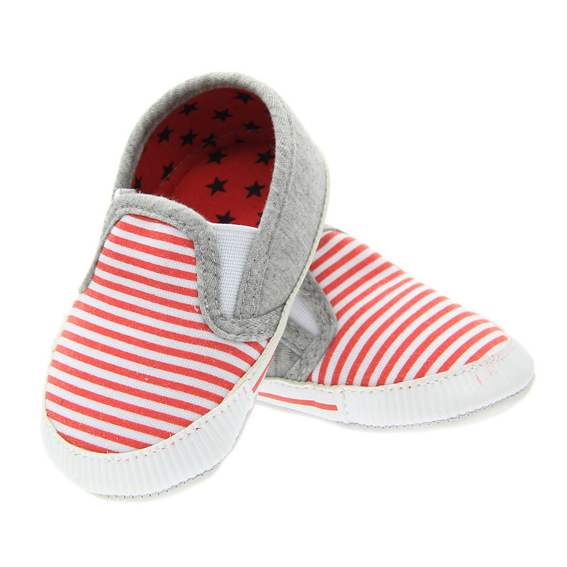 kidadndy First Walker Baby Shoes Boys Girls Canvas Stripe Anti-Slip Soft Sole Soles Brand Baby Shoes YD526