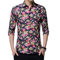 Brand 2018 Fashion Male Shirt Long Sleeves Tops Small Floral Casual Mens Dress Shirts Slim Men