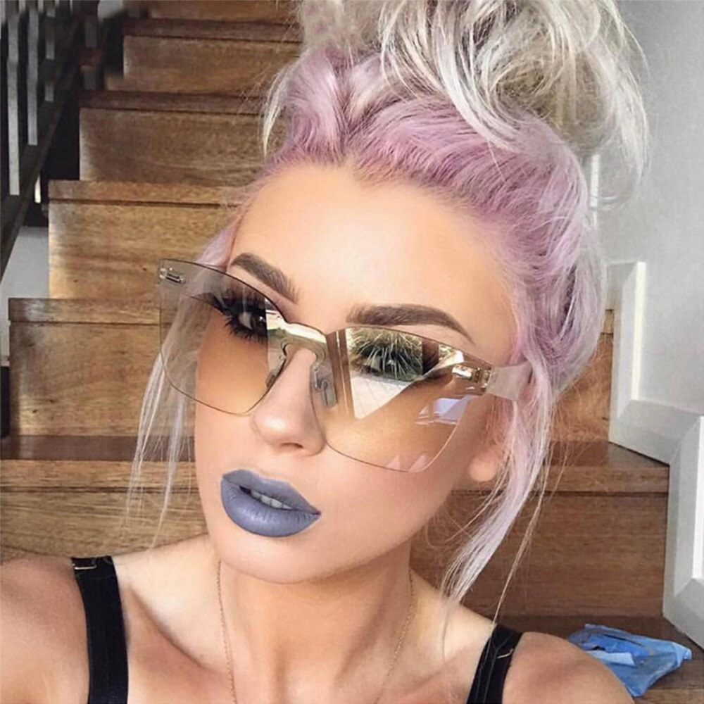 2018 Sunglasses Women Summer Rimless Square Shades Sun Glasses Eyewear Beachwear Hiking Eyewear Outdoor Eyeglasses