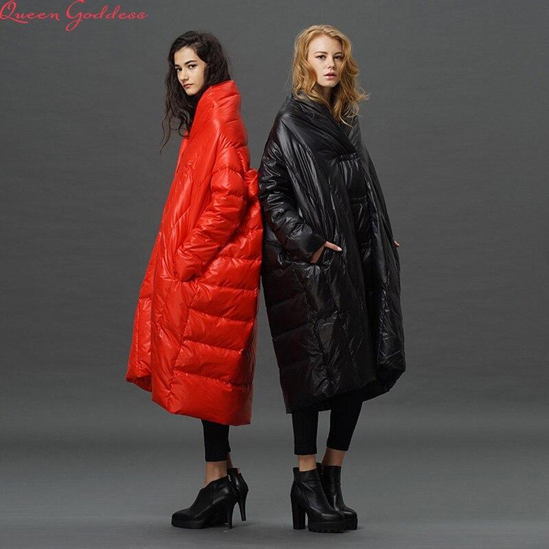 Haute Qualité 2017 Mode Femmes Hiver Veste Femme X-long Blanc Duvet de canard Parkas Manteau Épais Manteau D'hiver À Capuche
