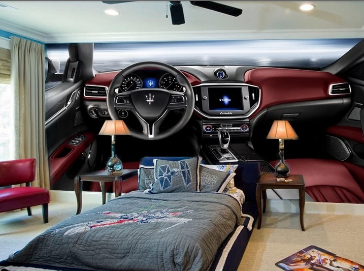 3d car custom mural non woven picture racing car hd tv setting wall painting