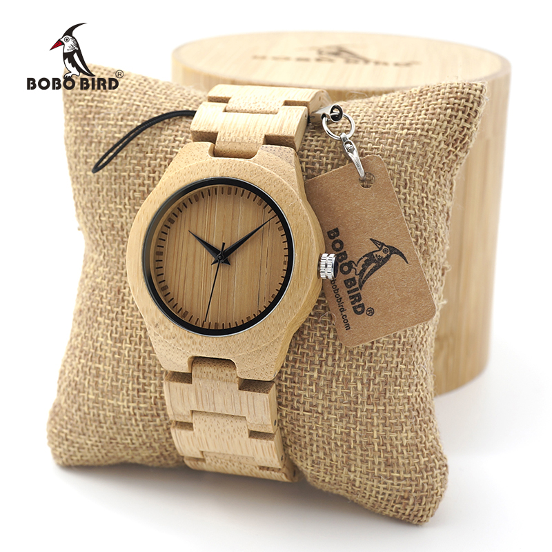 BOBO BIRD Women's Bamboo Wooden Wrist Watch With Full Wood Links Ladies' Unique Casual Quartz Watches bobo bird luxury bamboo wood men watch with engrave flower bamboo band quartz casual women watch full wooden watch in gift box