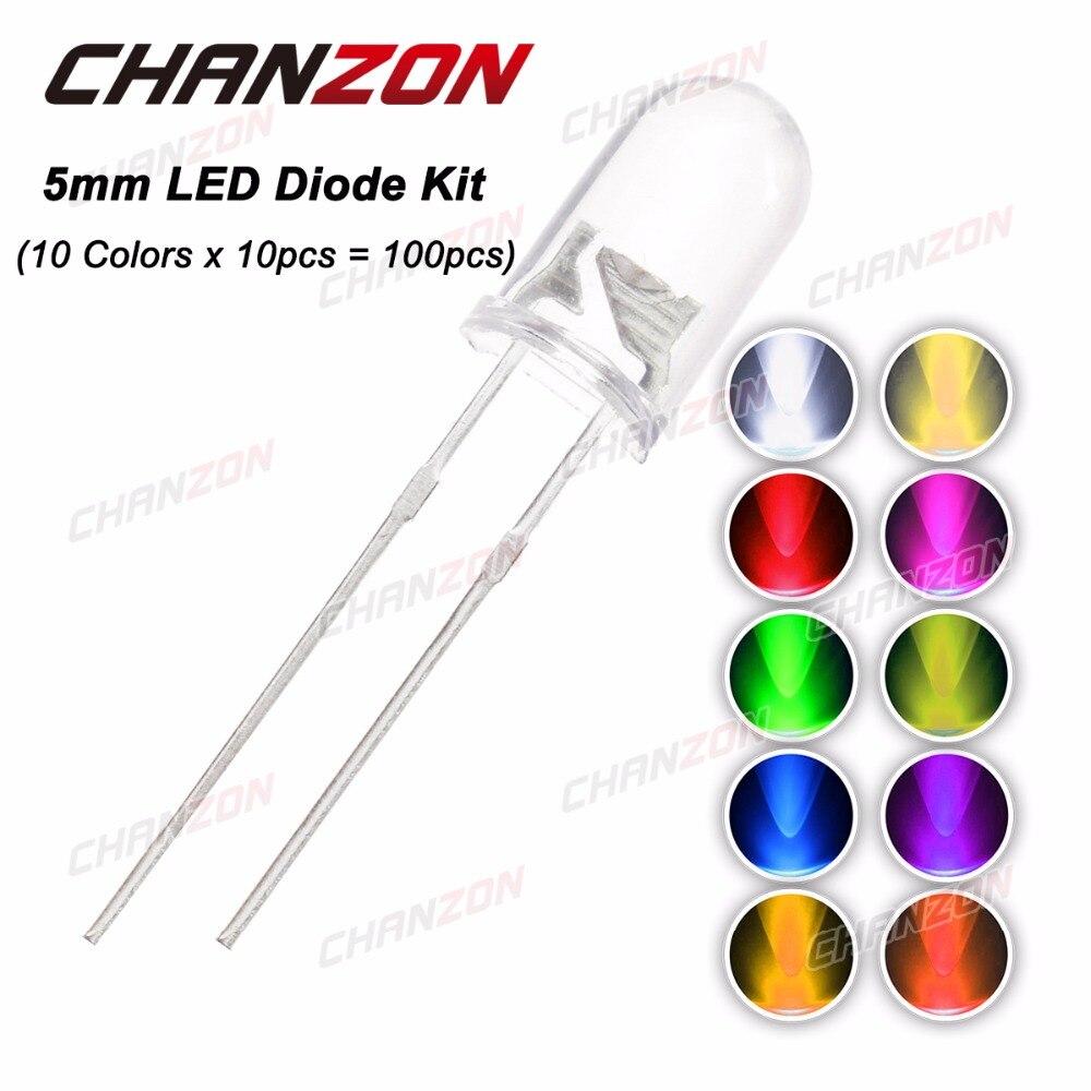 100pcs (10 colors x 10pcs) 5mm LED Diode 5 mm 3V Assorted Kit Clear Warm White <font><b>Green</b></font> <font><b>Red</b></font> <font><b>Blue</b></font> UV DIY Light Emitting Diode 20mA