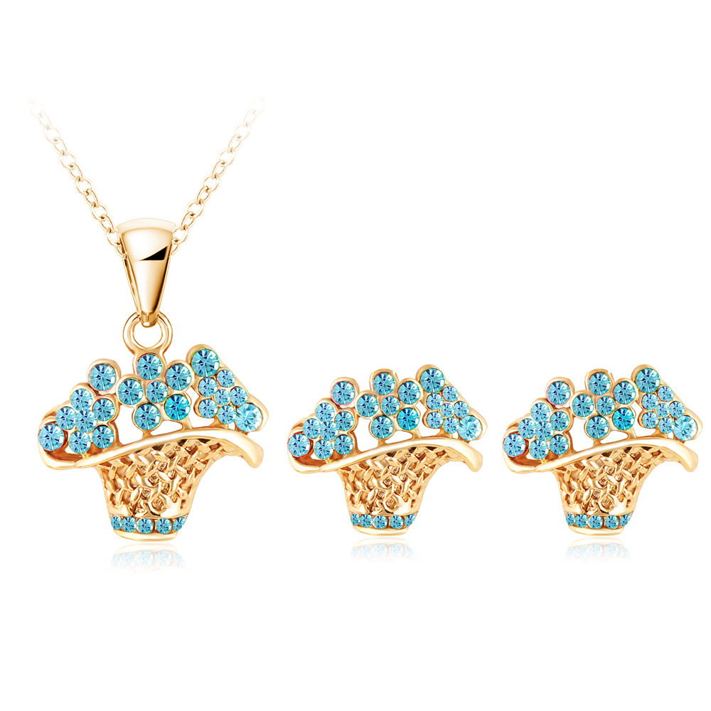 Lzeshine 2017 Fashion Jewellry Cute New Flower Basket Shape Women Austrian  Crystal Jewelry Set Gold Color