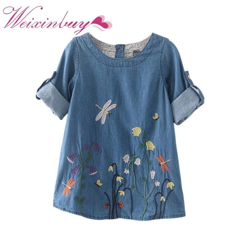 COCKCON Детская Одежда Девушки Джинсовой Одежды Осень Милые Дети Девочек Одежда Бабочка Вышивка Платья