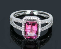 Jewelry Sets Vintage New Amazing 1 98Ct Solid 18K White Gold Diamond Pink Tourmaline Wedding Ring
