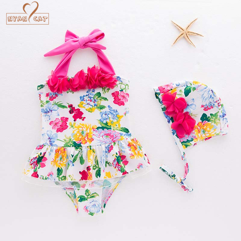 New Baby Girl Swimwear Floral Flowers Hat 2pcs Set Swimming Suit Infant Toddler Kids Beach Bathing Clothing Costume Korea Style