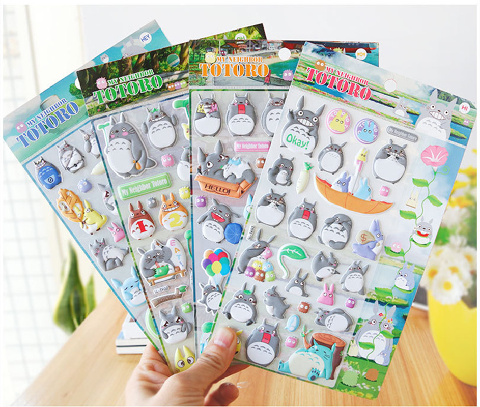 Creative My Neighbor Totoro Cartoon 3D Stickers Diary Sticker Scrapbook Decoration PVC Stationery Luminous stickers my beauty diary 10 page 5