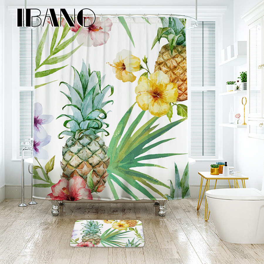Tropical Plants Shower Curtain Waterproof Polyester Fabric Shower ...