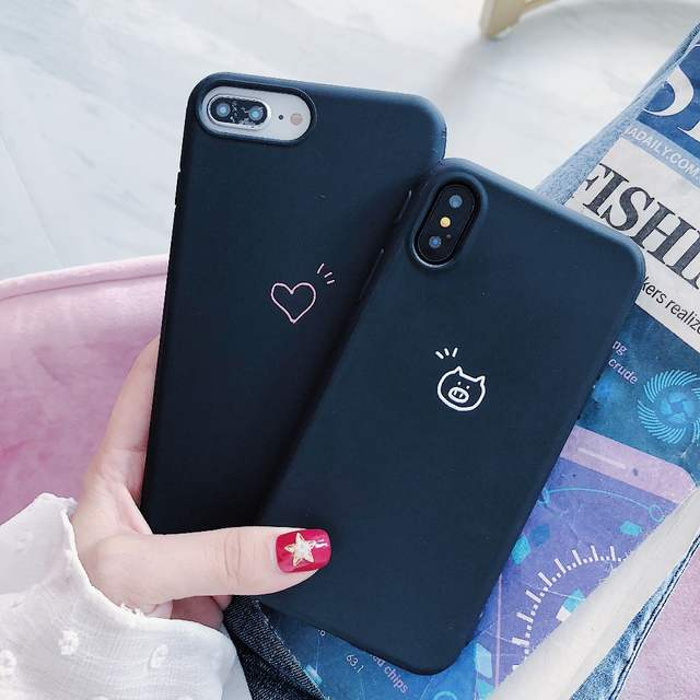 c219c79b55d Online Shop Soft TPU Couple Phone Case for Apple iPhone XS Max Cute Pig  Heart Simple Relief Black Cover Shell for iPhone XR X 6 6S 7 8 Plus