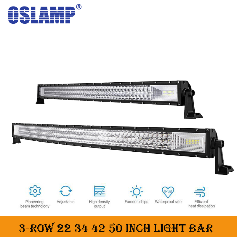 Oslamp Tri-Row 22 34 42 50inch Curved Work Light Bar offroad led bar for Car SUV 4WD Truck Combo led working lights car-styling