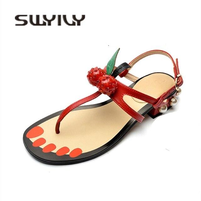 73eec532ae7e SWYIVY Women Sandals Flip Flop Cherry 2018 Peal Heel Woman Summer Casual  Shoes Low Heel Roman Sandals Female Summer Footwear 40