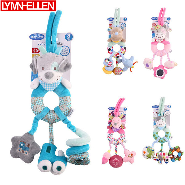 Animal Doll Bed Hanging Baby Stroller Rattle Pendant Doll Newborn Stroller Cartoon Puppy Cow Hedgehog Donkey Bed Plush Toys