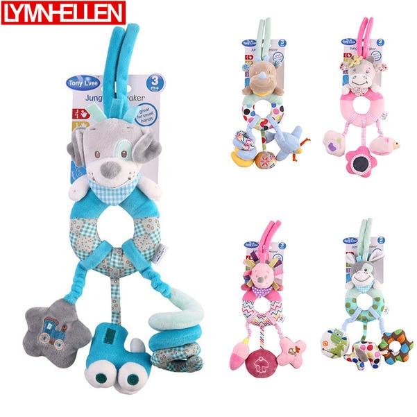 Animal Doll Bed Hanging Baby Stroller Rattle Pendant Doll Newborn Stroller Cartoon Puppy Cow Hedgehog Donkey Bed Plush Toys