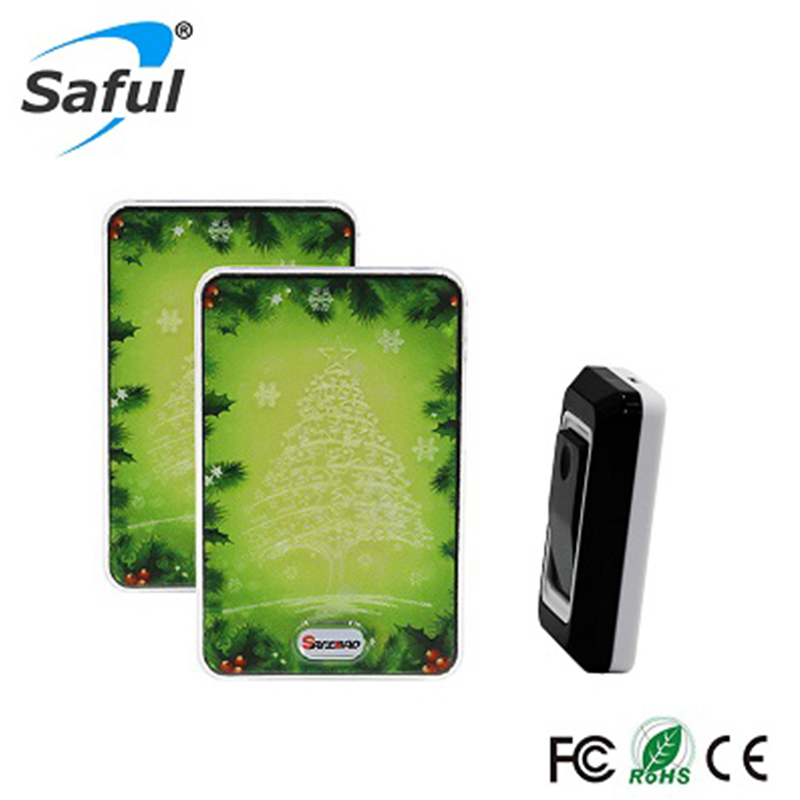 Saful Wireless DoorBell Waterproof Buttons/Touch Kit Christmas Tree Design LED Light Bell 28 EU/UK/US/AU plug touch sensor design waterproof wireless doorbell eu us uk au plug home led light door bell ac220v with 1ring button 2receivers