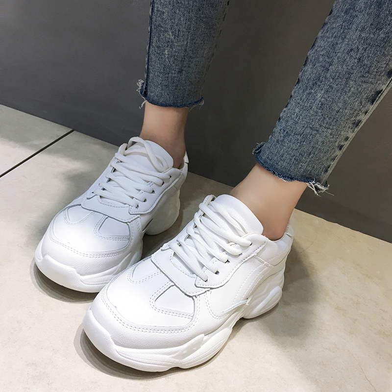 Rimocy Autumn Women White Sneakers Slip on Chunky Vulcanized Shoes Woman Waterproof Thick Bottom Shoes Mujer 2019 Tenis Feminino(China)