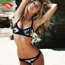 SWIMMART bikin retro printed swimsuit wrapped chest swimmer women push up bikini bathing suit swimming for swim